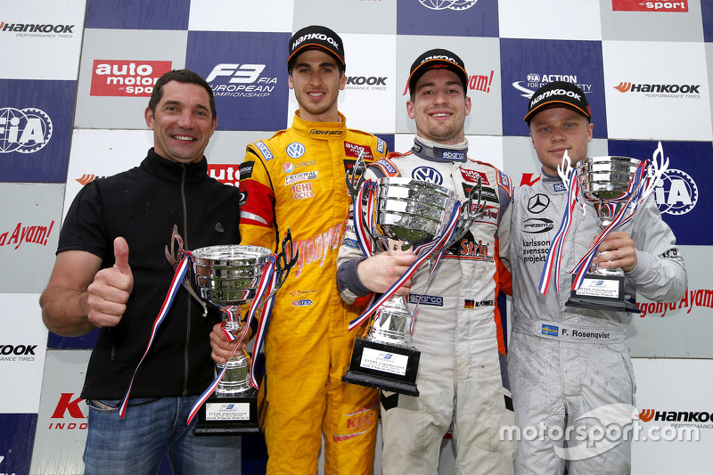Podium: Max Papis and second place Antonio Giovinazzi, Jagonya Ayam with Carlin and winner Markus Po