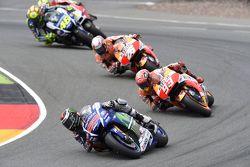 Jorge Lorenzo, Yamaha Factory Racing and Marc Marquez and Dani Pedrosa, Repsol Honda Team and Valentino Rossi, Yamaha Factory Racing and Andrea Iannone, Ducati Team