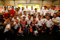Marc Marquez and Dani Pedrosa and the Repsol Honda Team celebrate their 1-2 finish