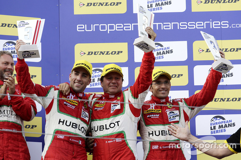 GTE podium: third place Peter Mann, Raffaele Giammaria, Matteo Cressoni