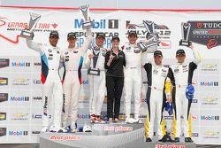 GTLM podium: winner Patrick Pilet, Nick Tandy, second place Lucas Luhr, John Edwards, third place Ja