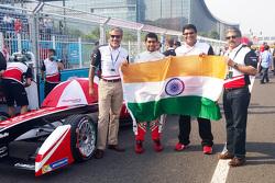 Dilbagh Gill, Team Principal of Mahindra Racing with Anand Mahindra and Karun Chandhok