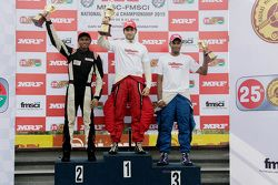 Podium: race winner Goutham Parekh, second place Tejas Ram, third place Karthik Tharani