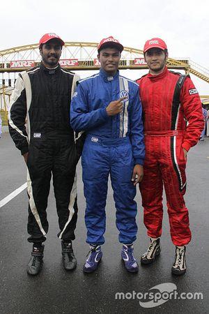 Juara balapan Karthik Tharani, peringkat kedua Goutham Parekh, peringkat ketiga Arjun Narendran