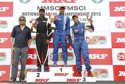 Race winner Karthik Tharani, second place Arjun Narendran, third place Siddarth Trivellore