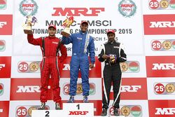 Race winner Karthik Tharani, second place Goutham Parekh, third place Arjun Narendran