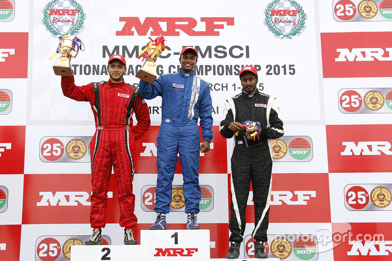 Race winner Karthik Tharani, second place Goutham Parekh, third place Arjun Narendran