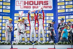 Podium: race winners Simon Dolan, Filipe Albuquerque, Harry Tincknell, second place Pierre Thiriet,