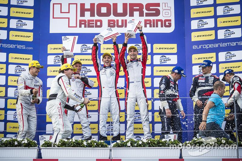 Podium: race winners Simon Dolan, Filipe Albuquerque, Harry Tincknell, second place Pierre Thiriet, Ludovic Badey, Tristan Gommendy, third place Mikhail Aleshin, Kirill Ladygin, Anton Ladygin
