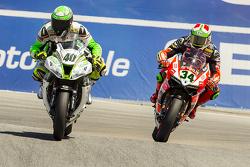 Roman Ramos, Team Go Eleven Kawasaki et Davide Giugliano, Ducati Team
