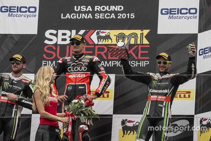 Podium: 1. Chaz Davies, Ducati Team; 2. Tom Sykes, Kawasaki Racing; 3. Jonathan Rea, Kawasaki Racing