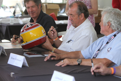Rick Knoop, David Hobbs and Brian Redman during the Can Am drivers autograph session