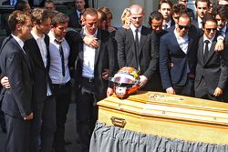 Sebastian Vettel, Romain Grosjean, Pastor Maldonado, Felipe Massa attend the funeral of Jules Bianchi in Nice, France
