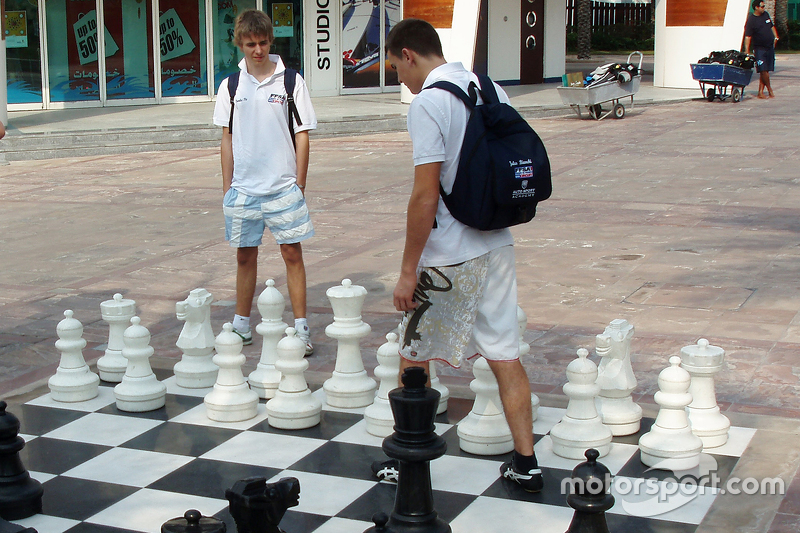 Jules Bianchi plays giant chess with Charles Pic