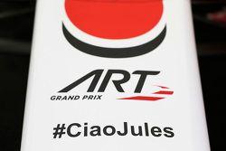 #CiaoJules sur la voiture ART Grand Prix