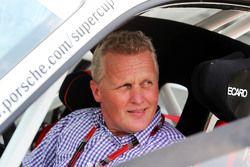 Johnny Herbert, Sky Sports F1 Presenter in his Porsche Supercup car