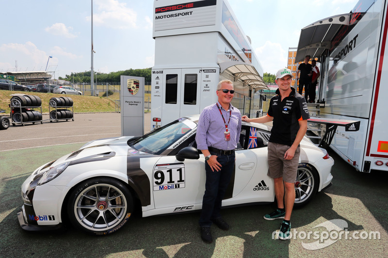 Johnny Herbert, Sky Sports F1 Presenter and his Porsche Supercup car, with Nico Hulkenberg, Sahara Force India F1