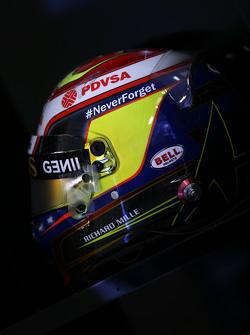 The helmet of Pastor Maldonado, Lotus F1 Team carries a tribute to Jules Bianchi