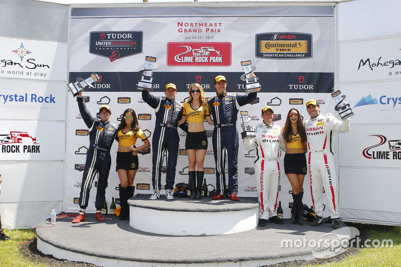 GS Podium: Race winners #15 Multimatic Motorsports Ford Mustang Boss 302R: Scott Maxwell, Billy John