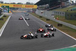 Luca Ghiotto, Trident, leads Esteban Ocon, ART Grand Prix and Emil Bernstorff, Arden International