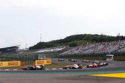 Luca Ghiotto, Trident leads Esteban Ocon, ART Grand Prix and Emil Bernstorff, Arden International at