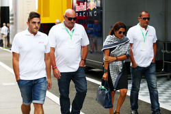 The family of Jules Bianchi in the paddock,: Tom, Philippe and Christine Bianchi - brother, father a