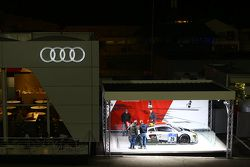 Audi advertising stand at night