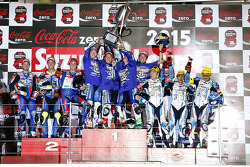 Podium: Katsuyuki Nakasuga, Pol Espargaro, Bradley Smith, second place Josh Hook, Dominique Aegerter