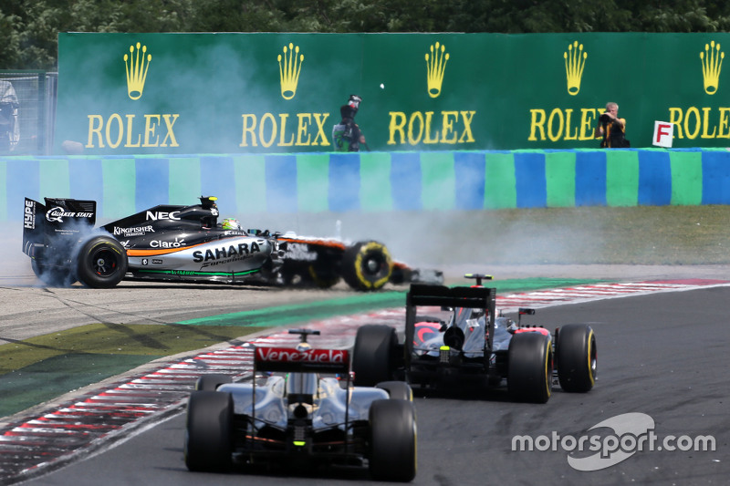 Sergio Perez, Sahara Force India, dan Pastor Maldonado, Lotus F1 Team