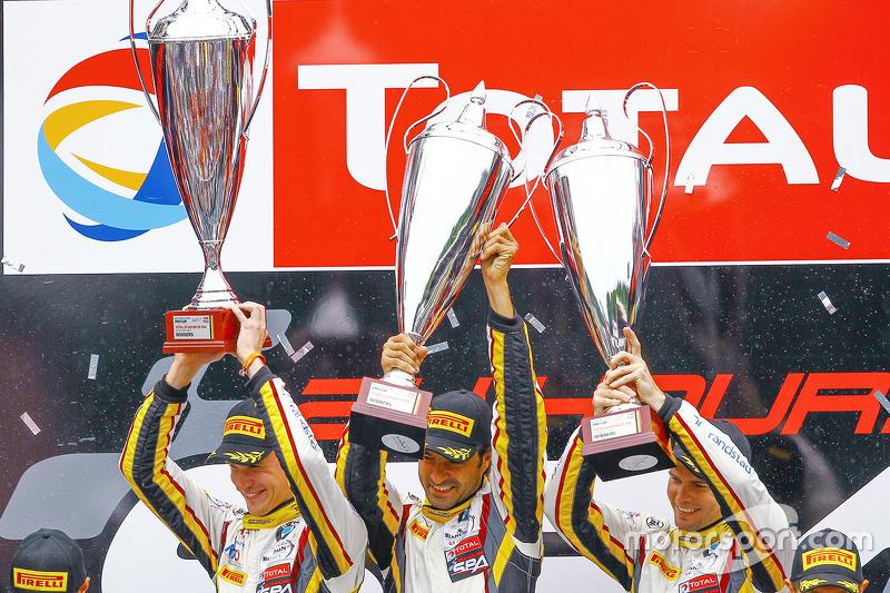 Podium: ganadores, Markus Palttala, Nicky Catsburg, Lucas Luhr, Marc VDS Racing Team