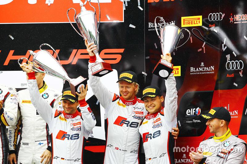 Podium: third place Christian Mamerow, Christopher Mies, Nicki Thiim, Phoenix Racing