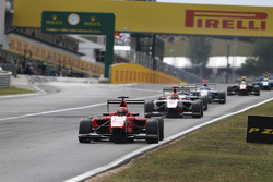 Kevin Ceccon, Arden International leads Esteban Ocon, ART Grand Prix