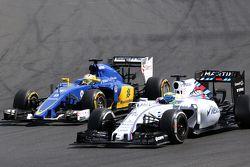 Marcus Ericsson, Sauber F1 Team y Felipe Massa, Williams F1 Team