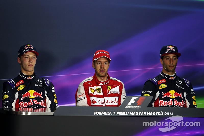 Прес-конференція FIA після гонки,:Данііл Квят, Red Bull Racing, second; Себастьян Феттель, Ferrari,