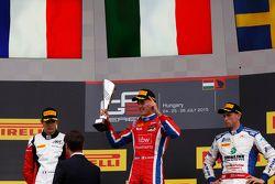 Race winner Kevin Ceccon, Arden International, second place Esteban Ocon, ART Grand Prix & third pla