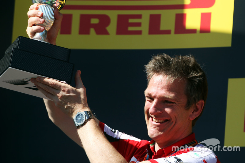 James Allison, Ferrari Chassis Technical Director celebrates on the podium