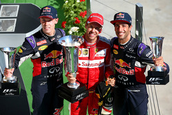 Podium: winner Sebastian Vettel, Ferrari, second place Daniil Kvyat, Red Bull Racing, third place Daniel Ricciardo, Red Bull Racing
