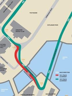 Änderungen an der Strecke in Singapore 2015