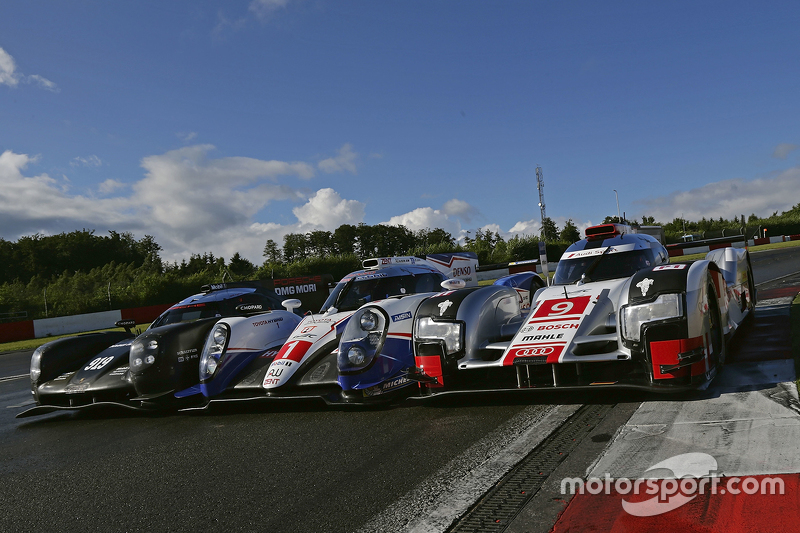 The Porsche Team 919 Hybrid, Toyota Racing TS040 Hybrid, Audi Sport Team Joest R18 e-tron quattro