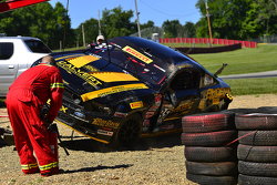 Safety crews work after a hard crash for #35 Phoenix American Motorsports Ford Mustang Boss 302: Pre
