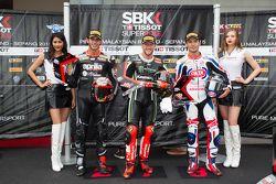 2. Jordi Torres, Aprilia Racing Team; Polesitter Tom Sykes, Kawasaki; 3. Sylvain Guintoli, Pata Hond