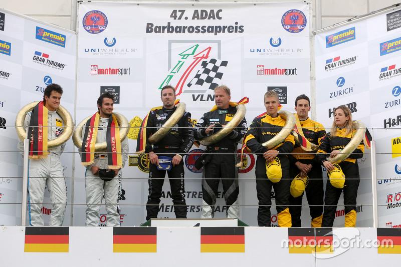 Podium: winners Dominik Schwager, Uwe Alzen, second place Dominik Farnbacher, Mario Farnbacher, third place Michela Cerruti, Felipe Laser, Jesse Krohn