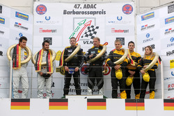 Podium: winners Dominik Schwager, Uwe Alzen, second place Dominik Farnbacher, Mario Farnbacher, thir