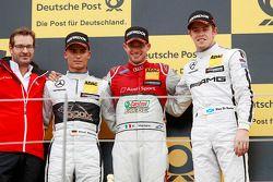 Podio: ganador Miguel Molina, Audi Sport Team Abt, segundo Pascal Wehrlein, HWA AG Mercedes, tercero