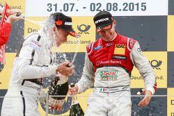 Peringkat kedua Pascal Wehrlein, HWA AG Mercedes, dan race pemenang balapan, Miguel Molina, Audi Spo