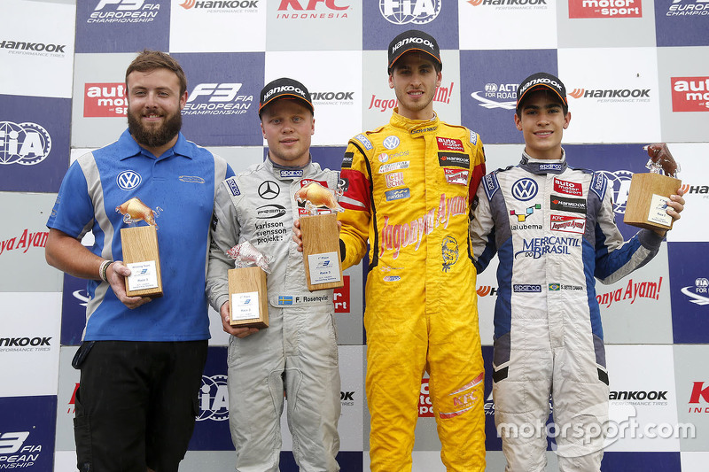 Podium: race winner Antonio Giovinazzi, Jagonya Ayam with Carlin Dallara Volkswagen, second place Fe