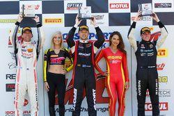 GT Winners Podium: Race winner Ryan Dalziel, second place James Davison, and third place Bryan Heitkotter