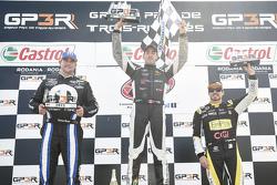 Podium: race winner Kevin Lacroix, second place Andrew Ranger, third place Alex Tagliani