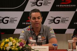 V8 Supercars driver Craig Lowndes, Triple Eight Race Engineering talks to the local media at this mo