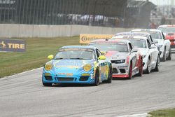 Start: #13 Rum Bum Racing Porsche 997: Matt Plumb, Hugh Plumb leads